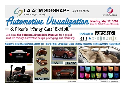 "Automtoive Visualization & Pixar's ""Art of Cards"" Exhibit postcard"