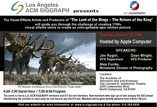 "Visual Effects of ""The Lord of the Rings - The Return of the King"" postcard"