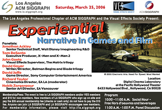 Experiential Narrative in Games and Film postcard
