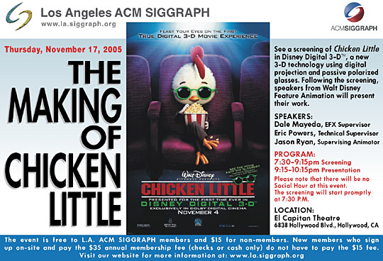"""The Making of """"Chicken Little"""" postcard"""