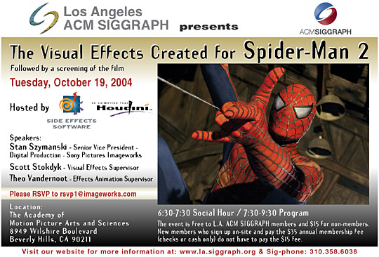 "Visual Effects Create for ""Spider-Man 2"" postcard"